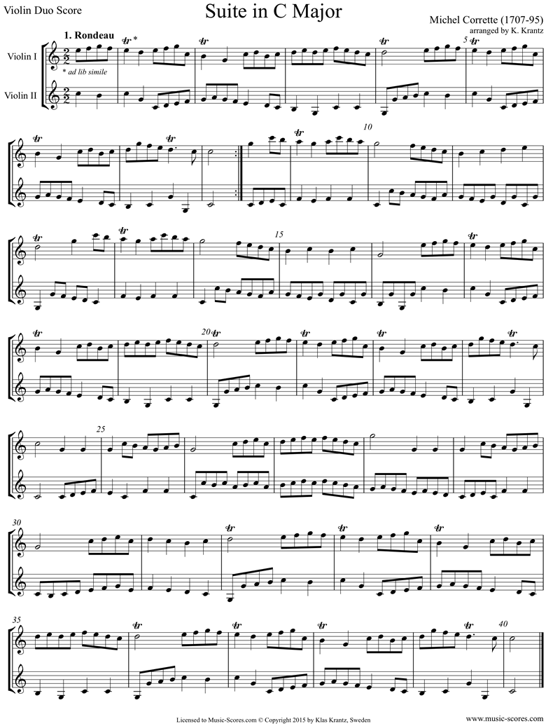 Front page of Suite in C major: Violin duo sheet music