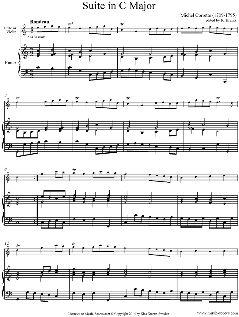 Front page of Suite in C major: Flute and Piano sheet music