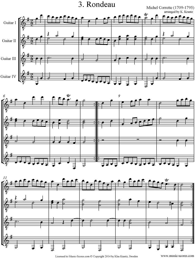 Front page of Suite in C major: Rondo No.2: Guitar quartet sheet music