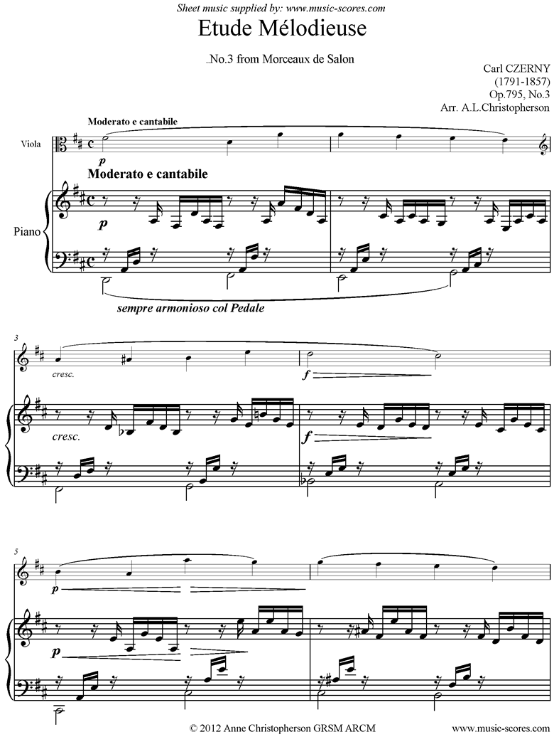 Front page of Op795, No3: Melodic Study: Viola, Piano sheet music