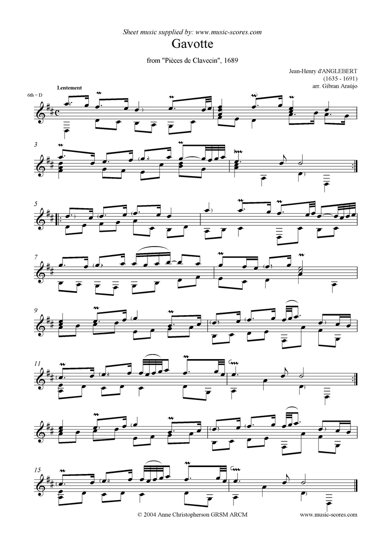 Front page of Gavotte, from Pièces de Clavecin: for guitar sheet music