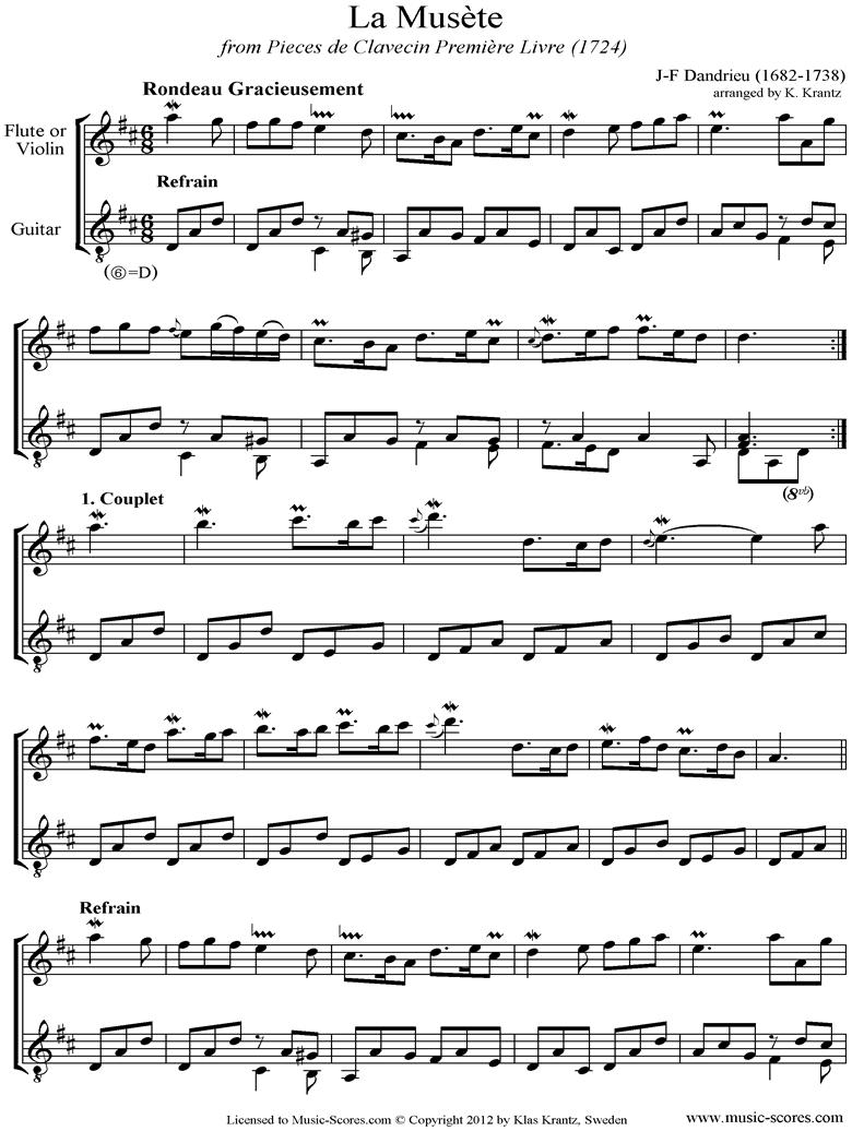 la musete flute, guitar sheet music by jean-francois dandrieu  music-scores.com