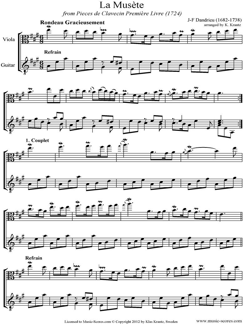 La Musete: Viola, Guitar by Dandrieu