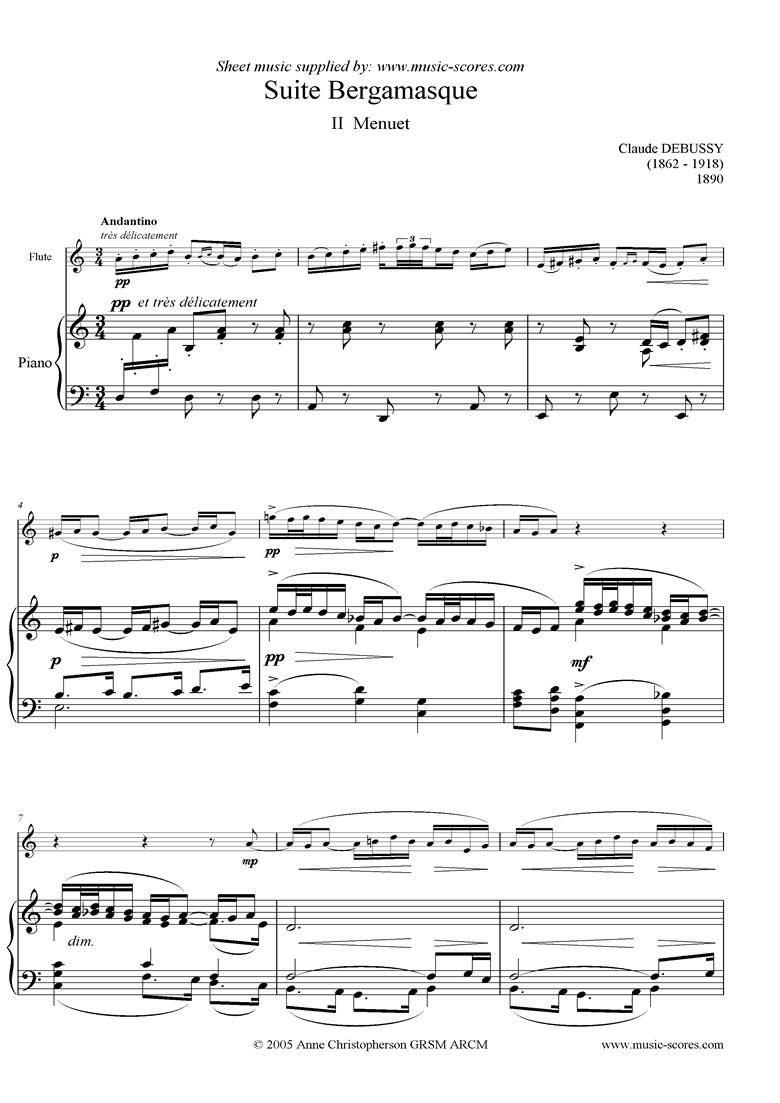 Front page of Suite Bergamasque: 02 Menuet - flute sheet music