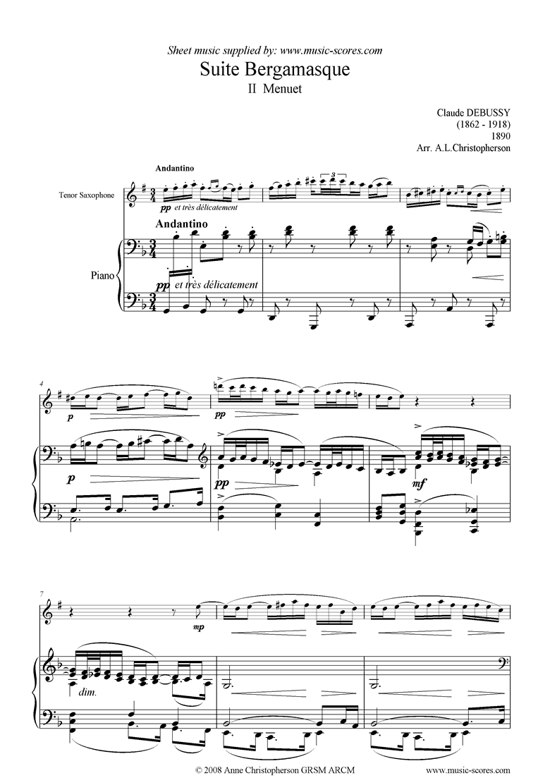 Front page of Suite Bergamasque: 02: Menuet: Tenor Sax sheet music