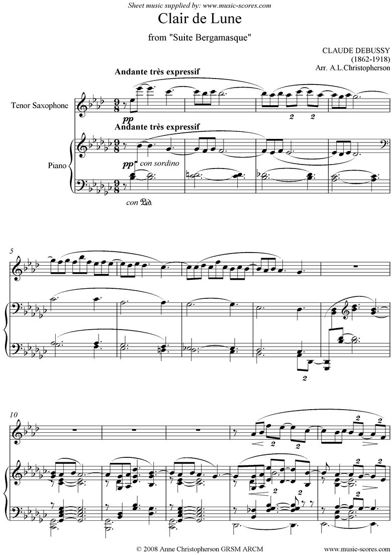 Suite Bergamasque: 03: Clair de Lune: Tenor Sax by Debussy
