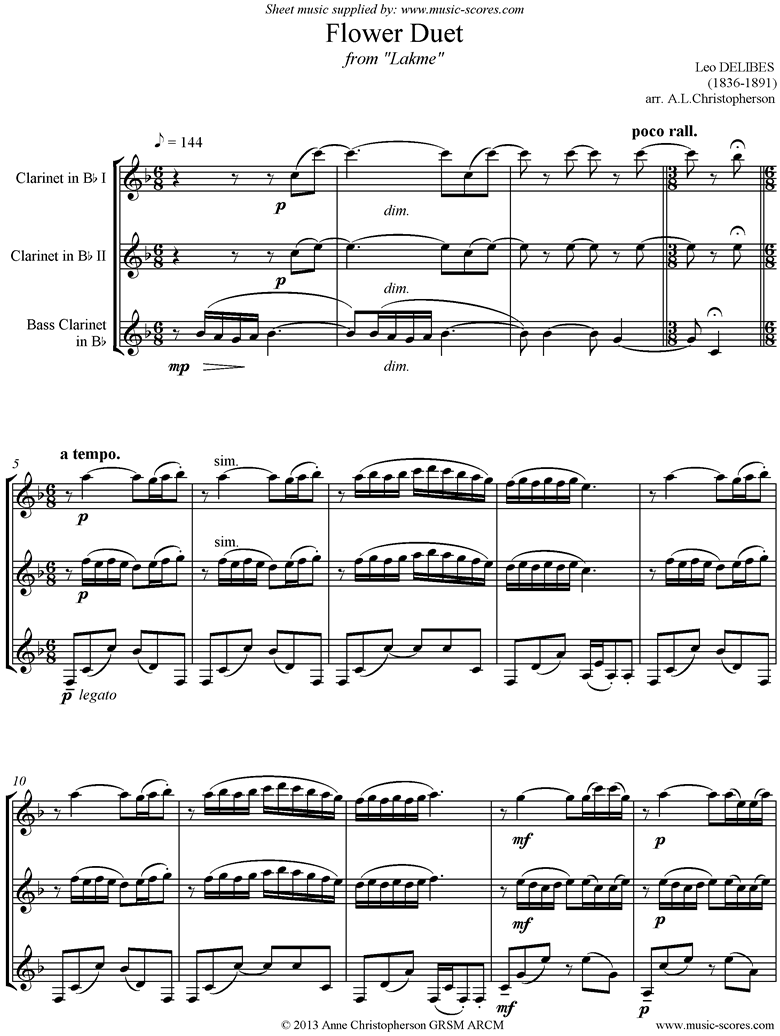 Front page of The Flower Duet: Lakme: 2 Clarinets, Bass Clarinet sheet music