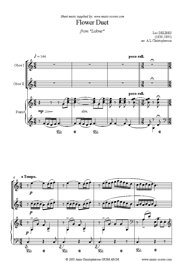 Front page of The Flower Duet: Lakme: 2 oboes and piano sheet music