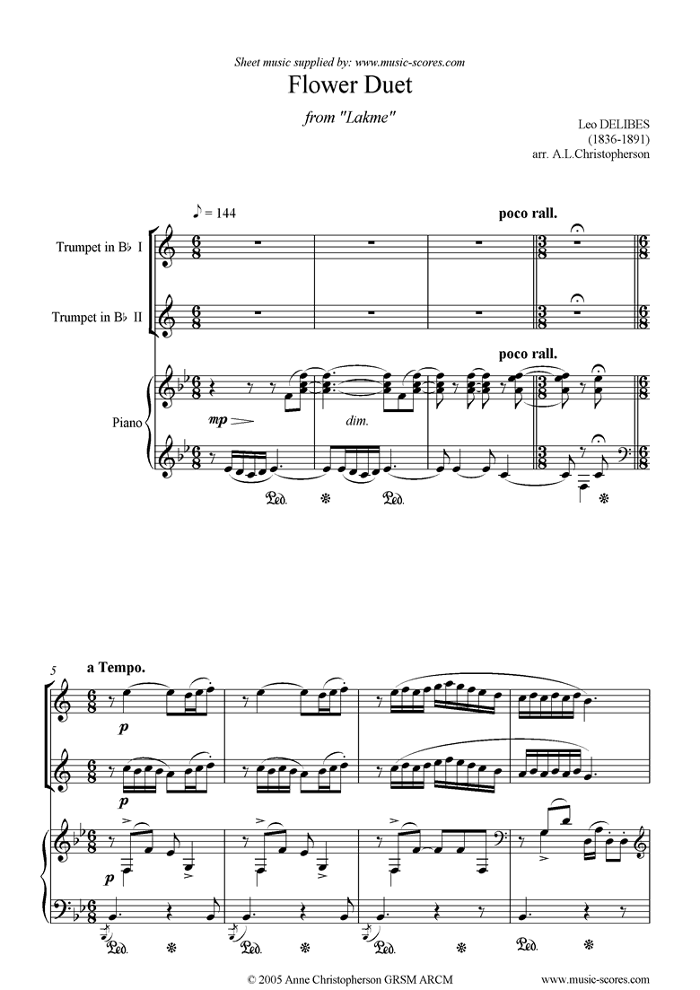 Front page of The Flower Duet: Lakme: 2 trumpets and piano sheet music