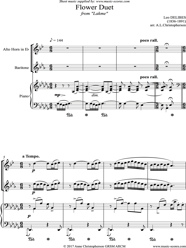 Front page of The Flower Duet: Lakme: Alto Horn, Baritone Horn and piano. Db. sheet music