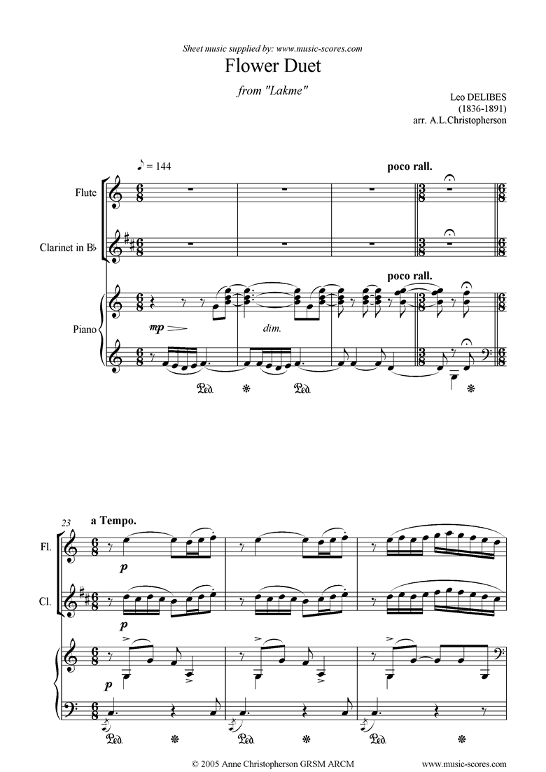 Front page of The Flower Duet: Lakme: flute, clarinet piano sheet music
