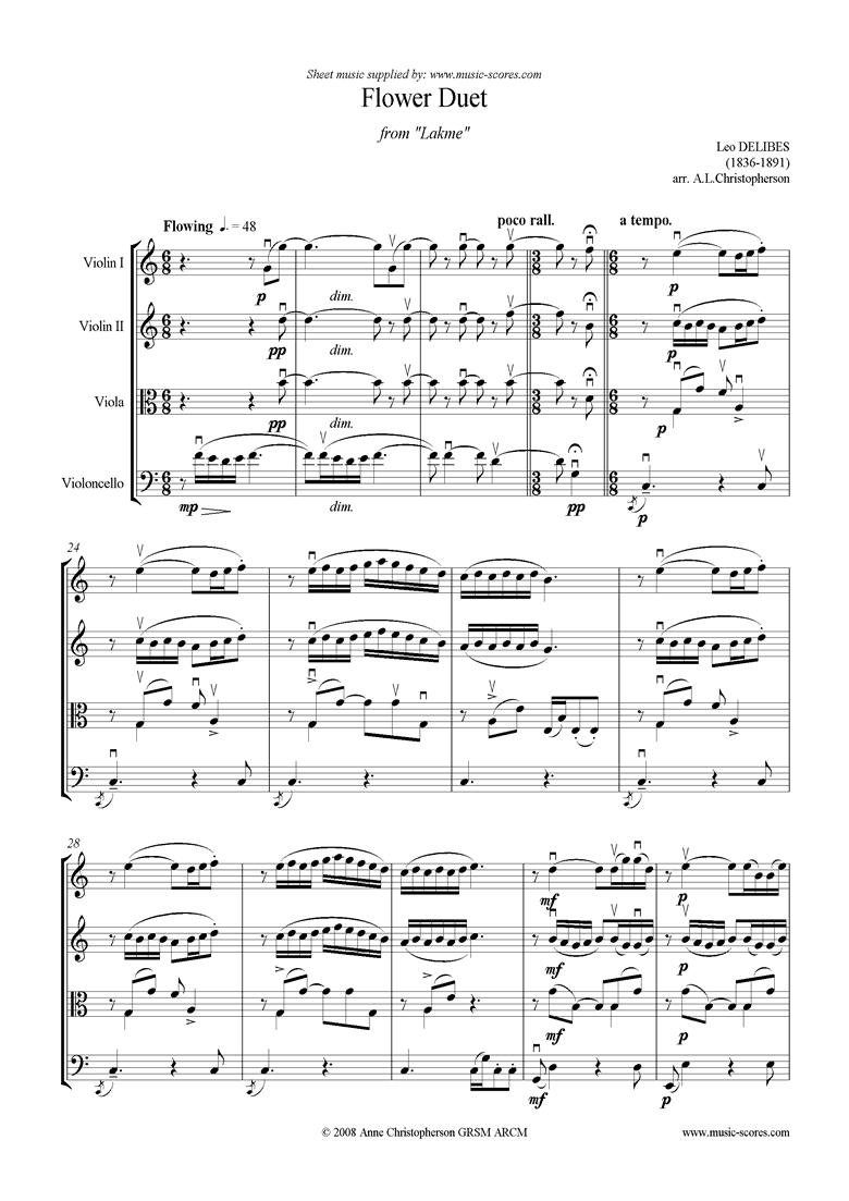 The Flower Duet: Lakme: String Quartet by Delibes