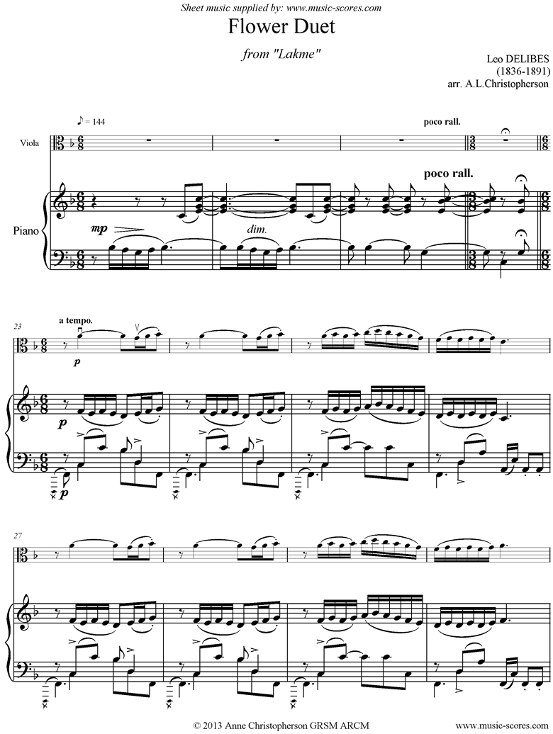 Front page of The Flower Duet: Lakme: Viola, Piano sheet music