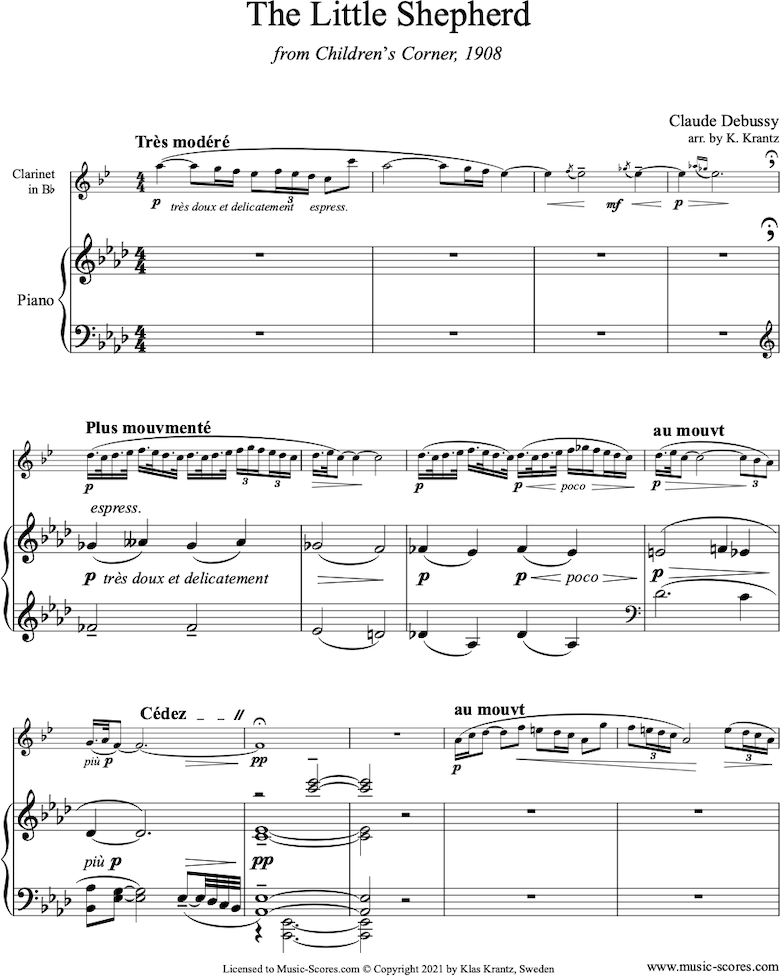 Front page of Childrens Corner: 5: The Little Shepherd: Clarinet sheet music
