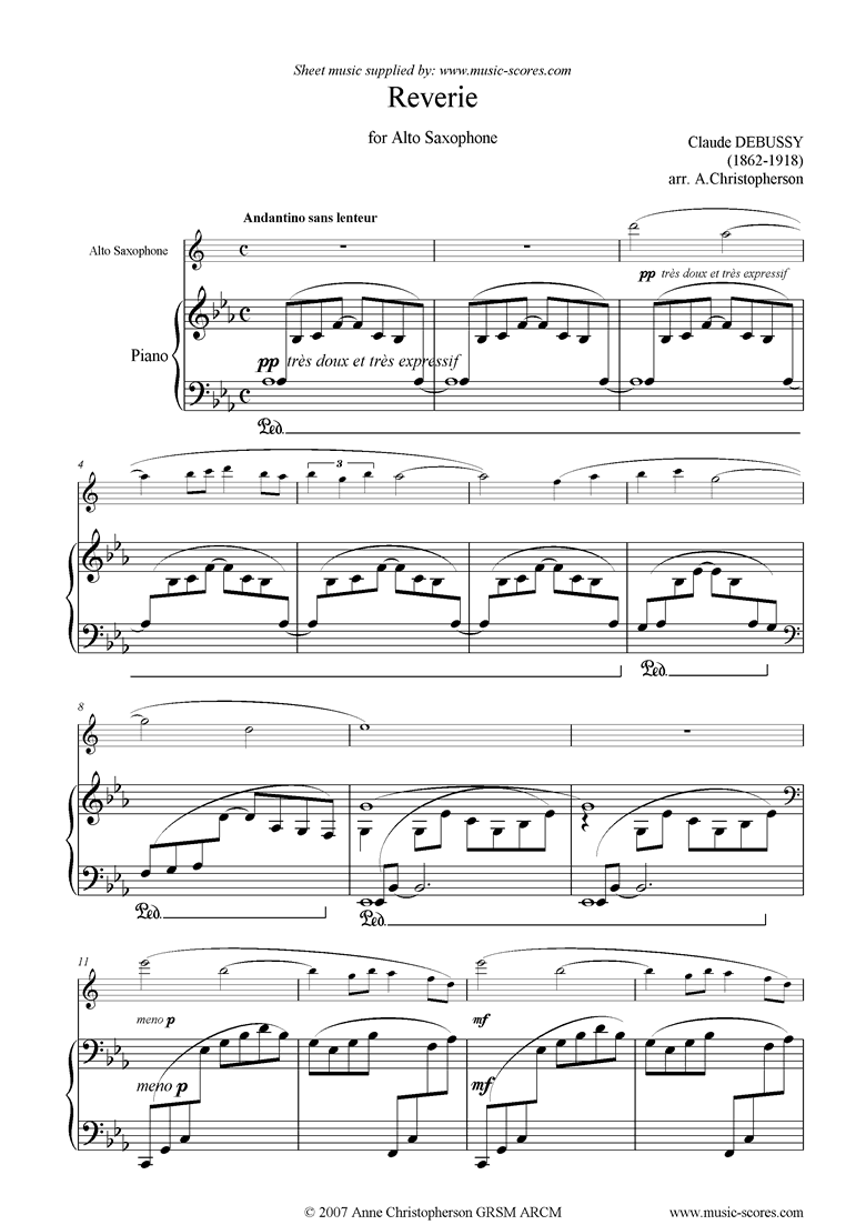 Front page of Reverie for Alto Sax sheet music