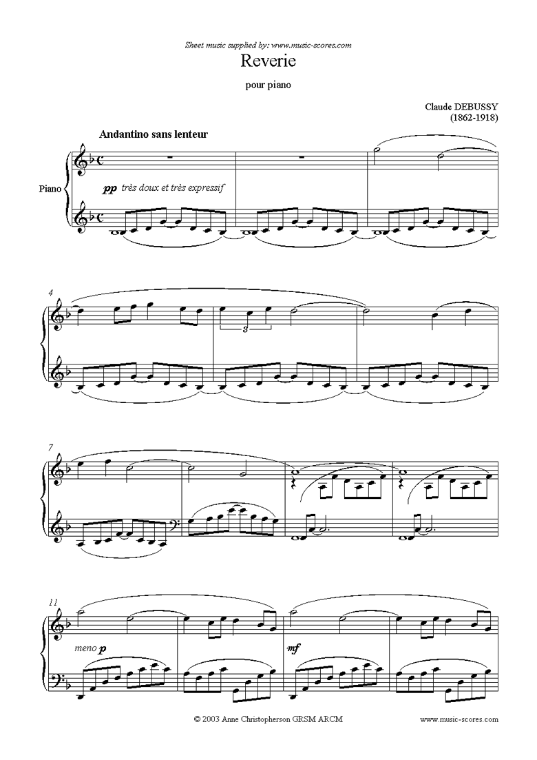 Front page of Reverie: Piano sheet music