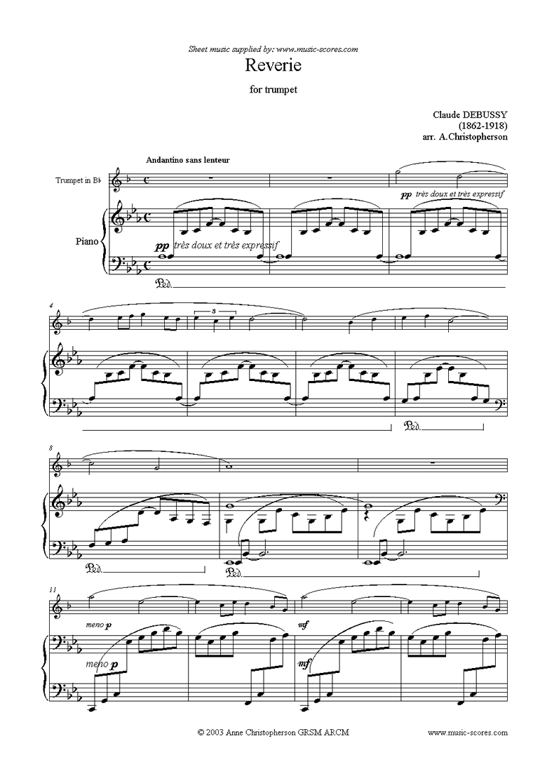 Front page of Reverie for Trumpet sheet music