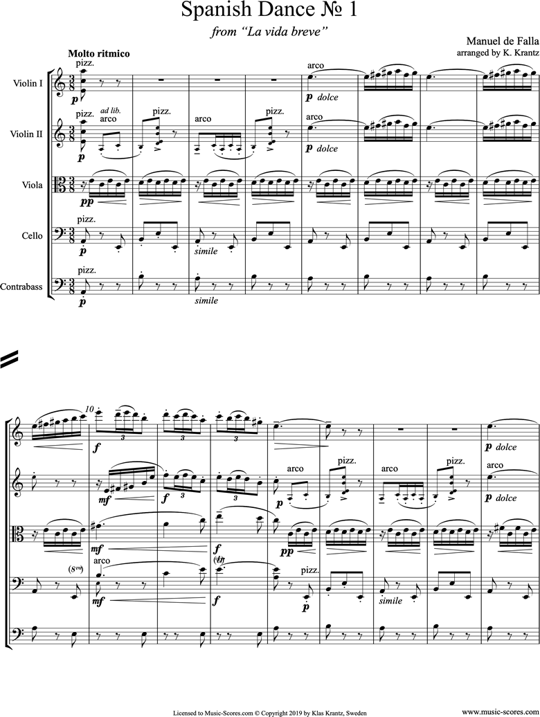 Front page of La Vida Breve: Spanish Dance No.1: String Ensemble sheet music