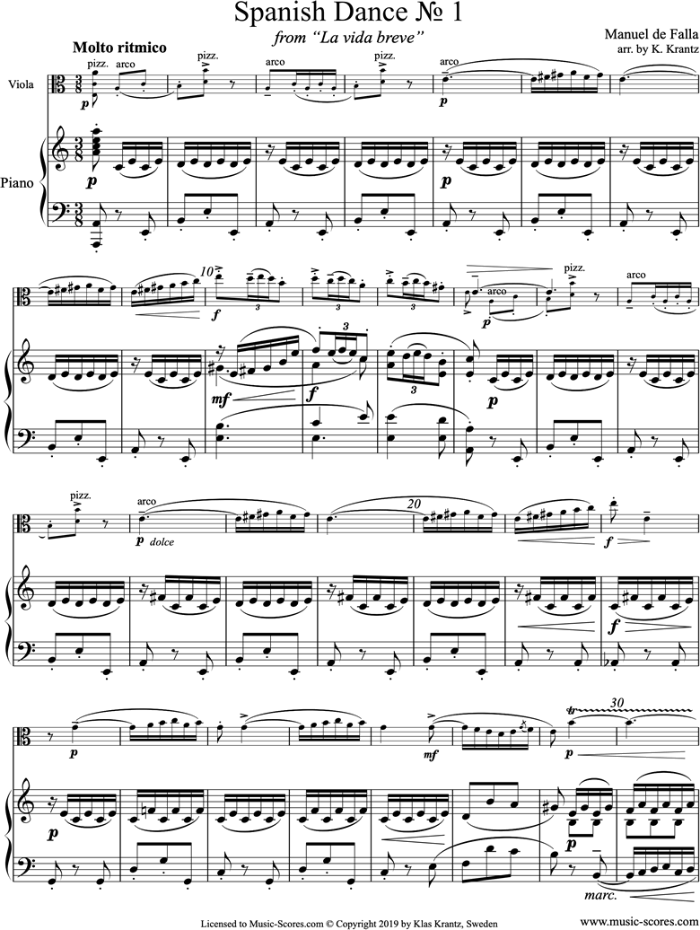 Front page of La Vida Breve: Spanish Dance No.1: Viola, Piano sheet music