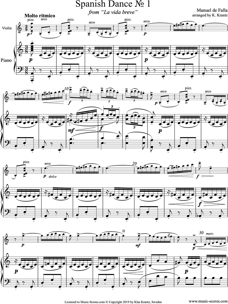 Front page of La Vida Breve: Spanish Dance No.1: Violin, Piano sheet music