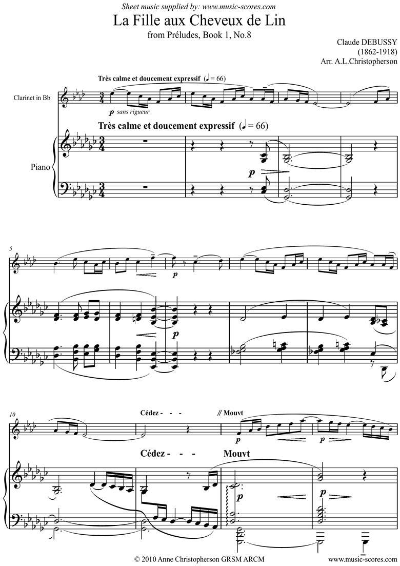 Preludes Bk1: La Fille aux Cheveux de Lin - clari by Debussy