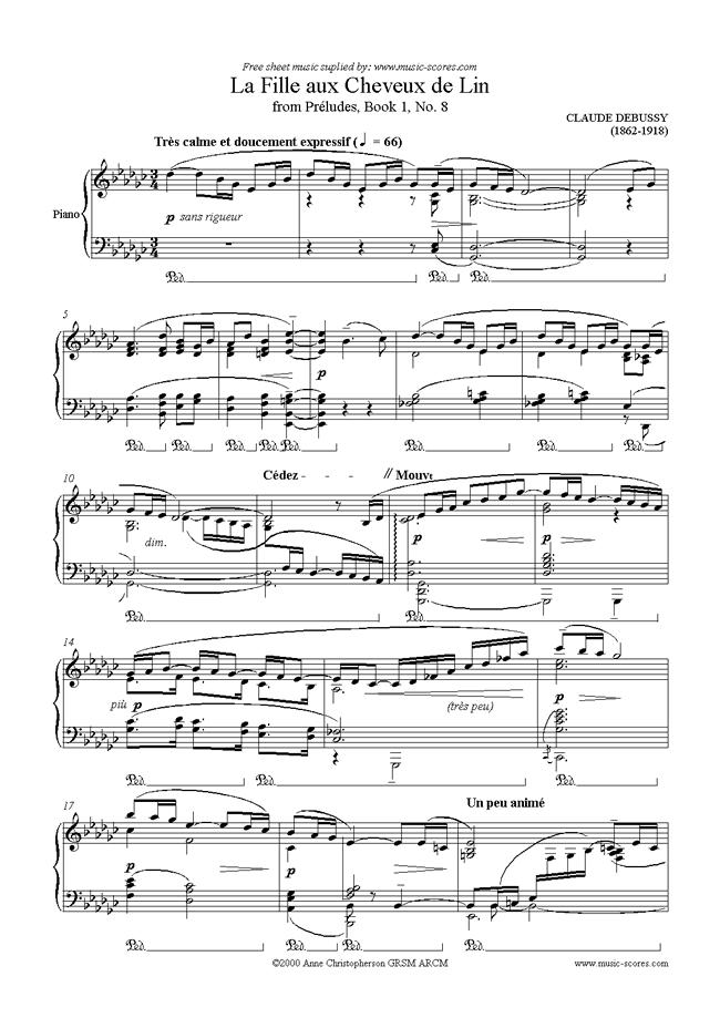 Preludes Bk1: 08 La Fille aux Cheveux de Lin by Debussy