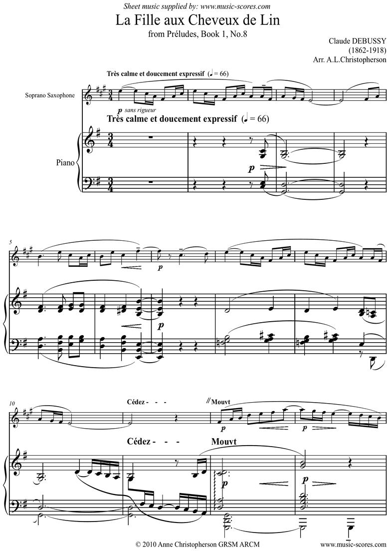Preludes Bk1: Fille aux Cheveux de Lin Soprano Sax by Debussy