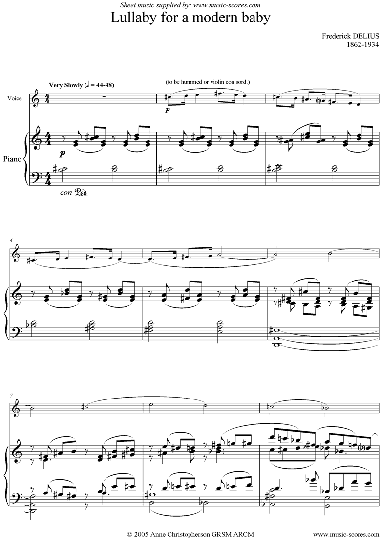 Front page of 5 Piano Pieces 04 Lullaby for a Modern Baby sheet music