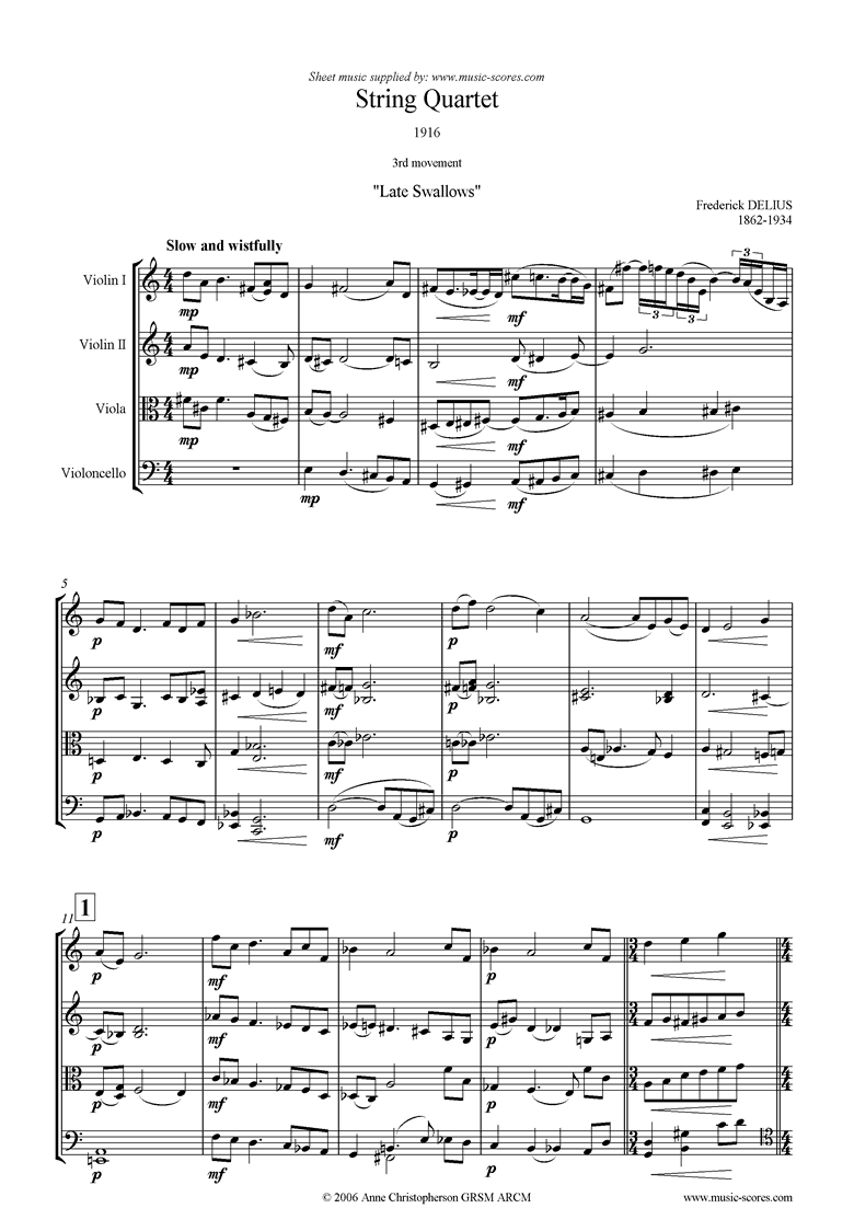 Front page of Quartet 1916: 3rd Movement: Late Swallows sheet music