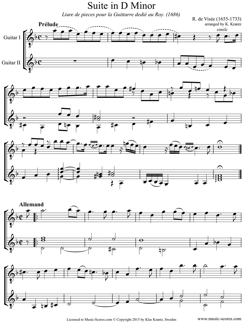 Front page of Suite 9 in D minor: 2 Guitars sheet music