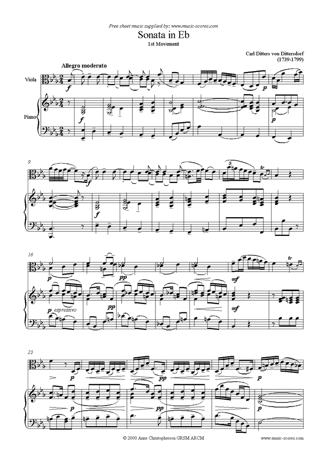 Front page of Viola Sonata in Eb, 1st Movement sheet music