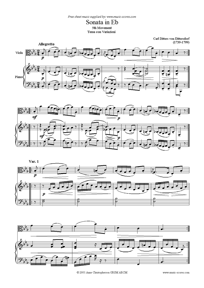 Front page of Viola Sonata in Eb, 5th Movement sheet music