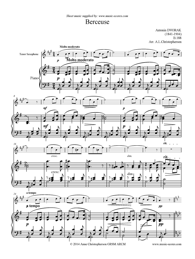Front page of B.188 Berceuse: Tenor Saxophone sheet music