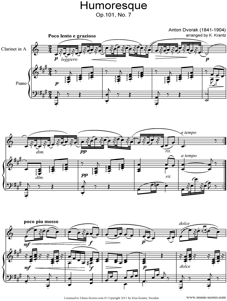 Front page of Op.101, No.7: Humoresque: Clarinet in A, Piano sheet music