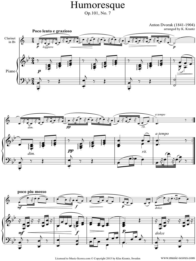 Op.101, No.7: Humoresque: Clarinet, Piano by Dvorak