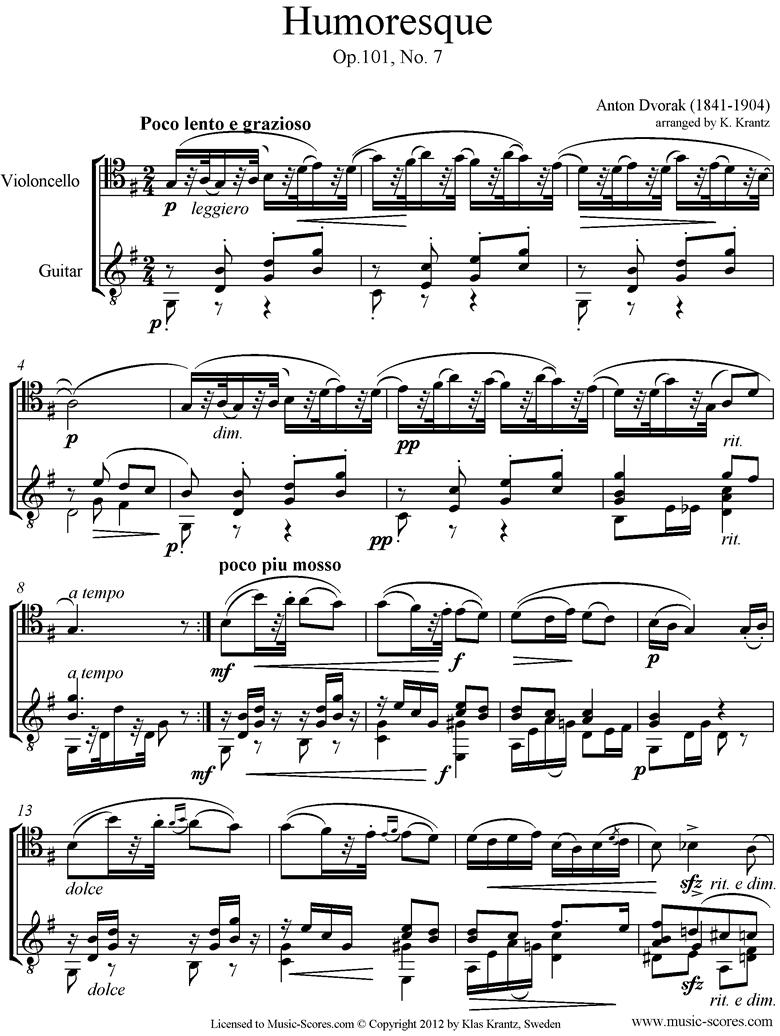 Op.101, No.7: Humoresque: Cello, Guitar by Dvorak