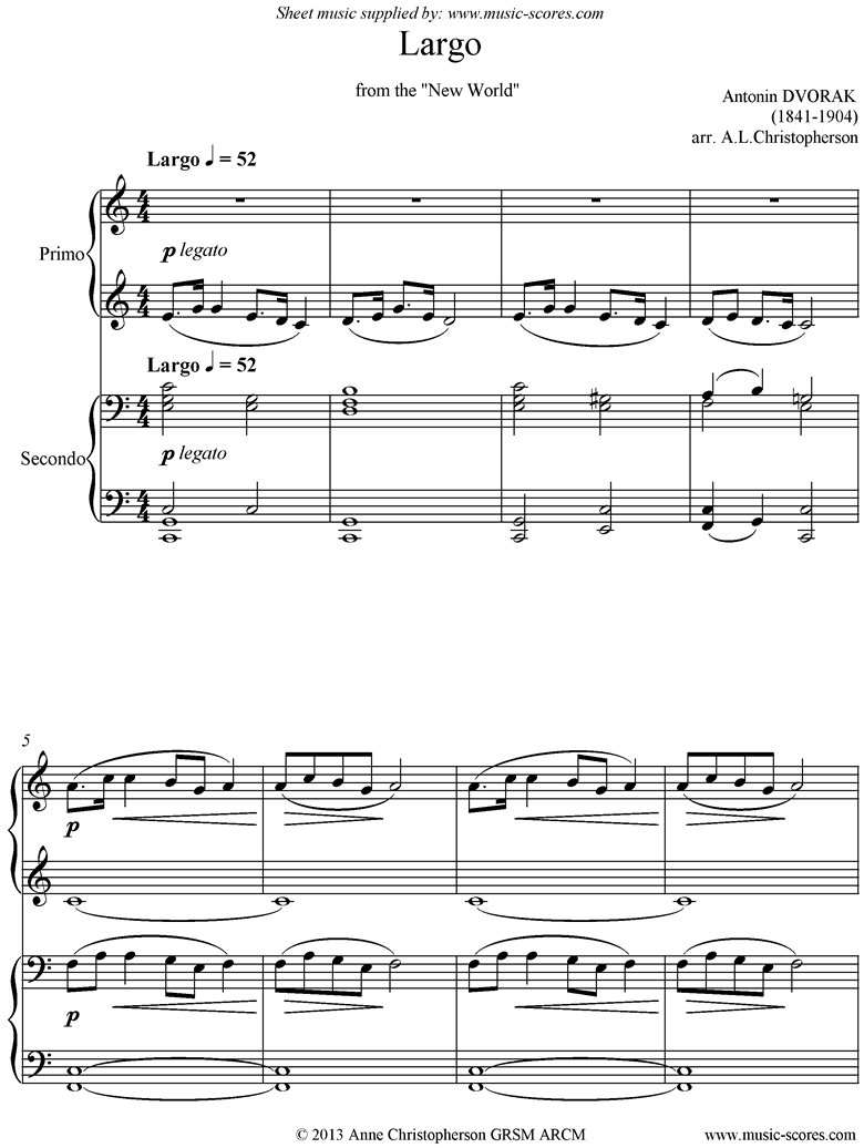 Front page of Largo theme from the New World Symphony No. 5: Op. 95: Piano Duet sheet music