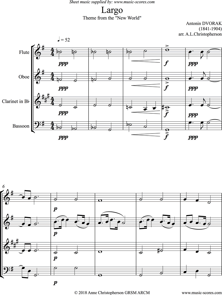 Front page of Largo theme from the New World Symphony No. 9: Op. 95: Wind Quartet sheet music