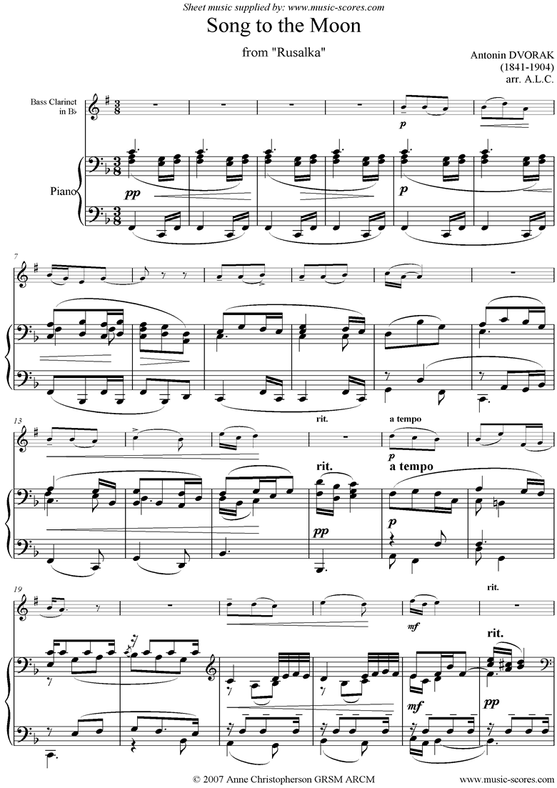 Song to the Moon: from Rusalka. Bass Clarinet by Dvorak