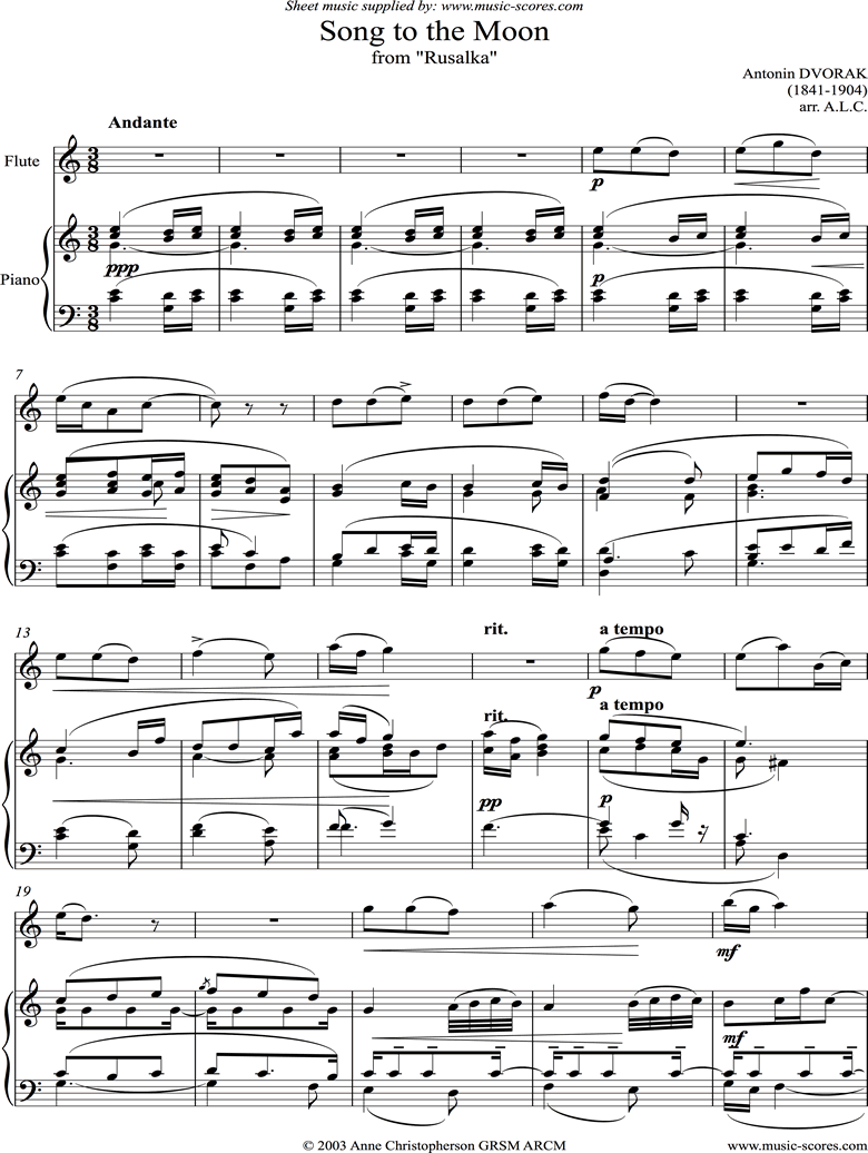 Front page of Song to the Moon: from Rusalka. Flute sheet music