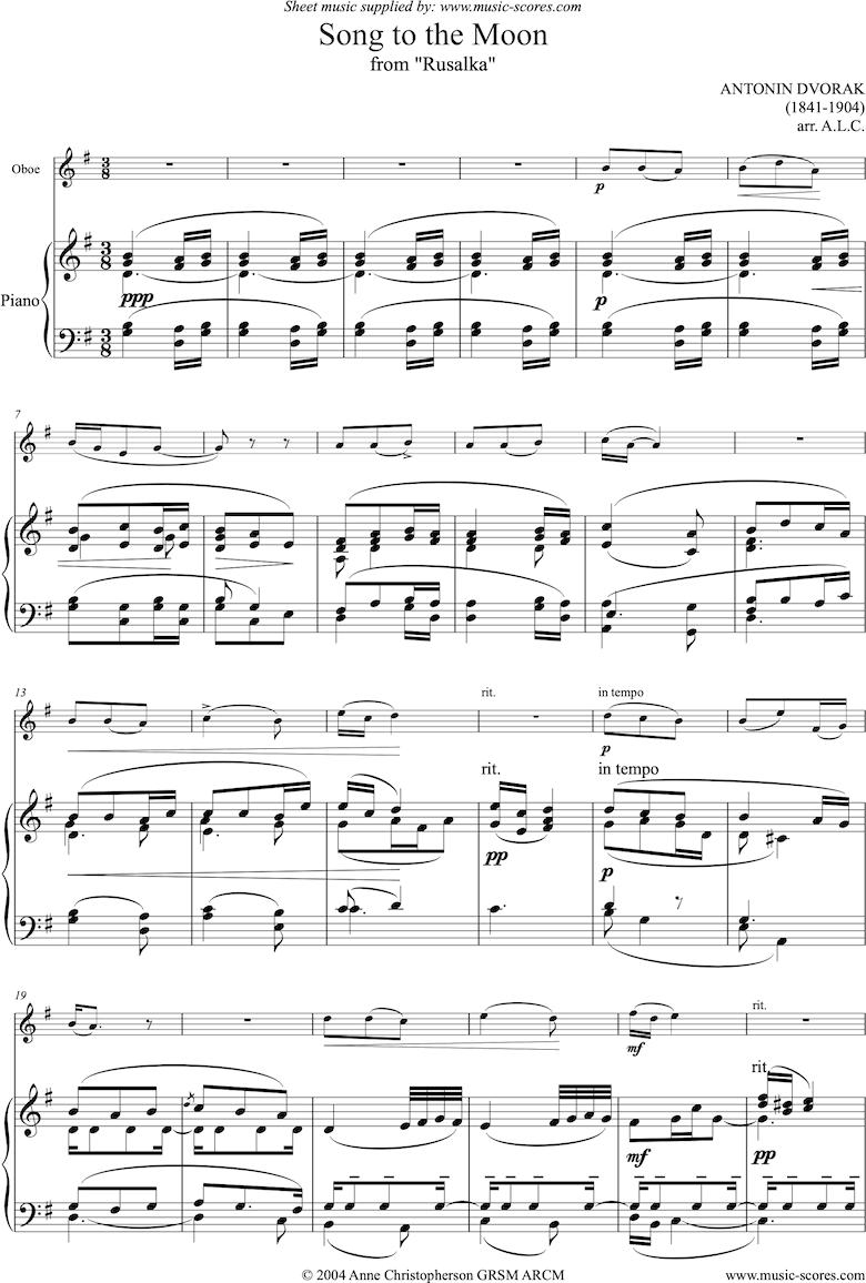 Front page of Song to the Moon: from Rusalka. Oboe sheet music