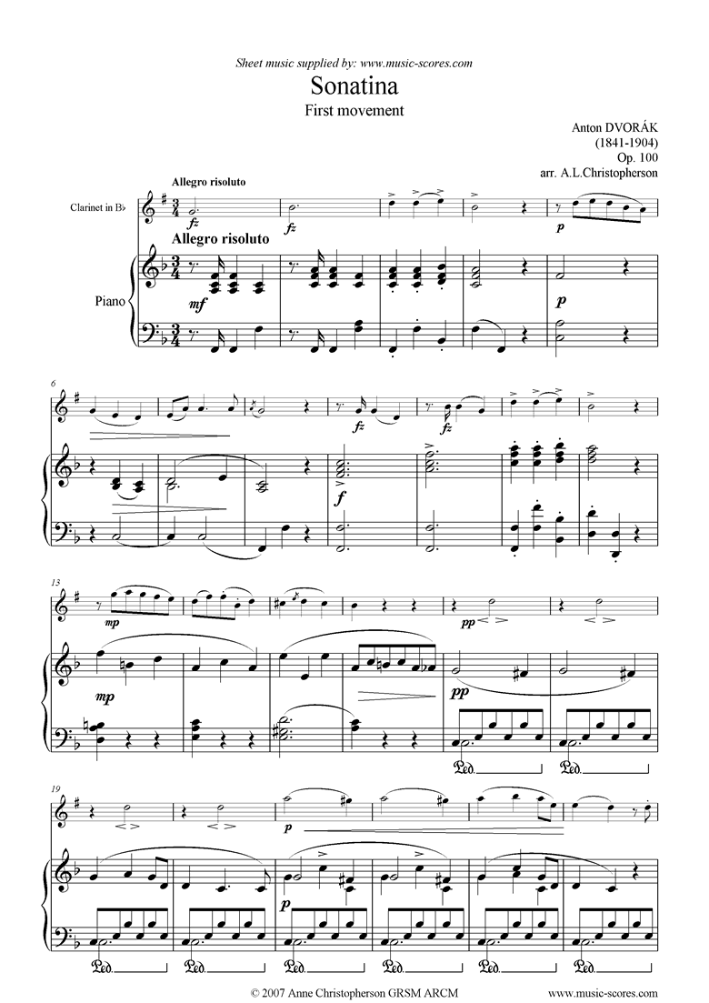 Front page of Op.100: Sonatina 1st Mvt: Allegro: Clarinet sheet music