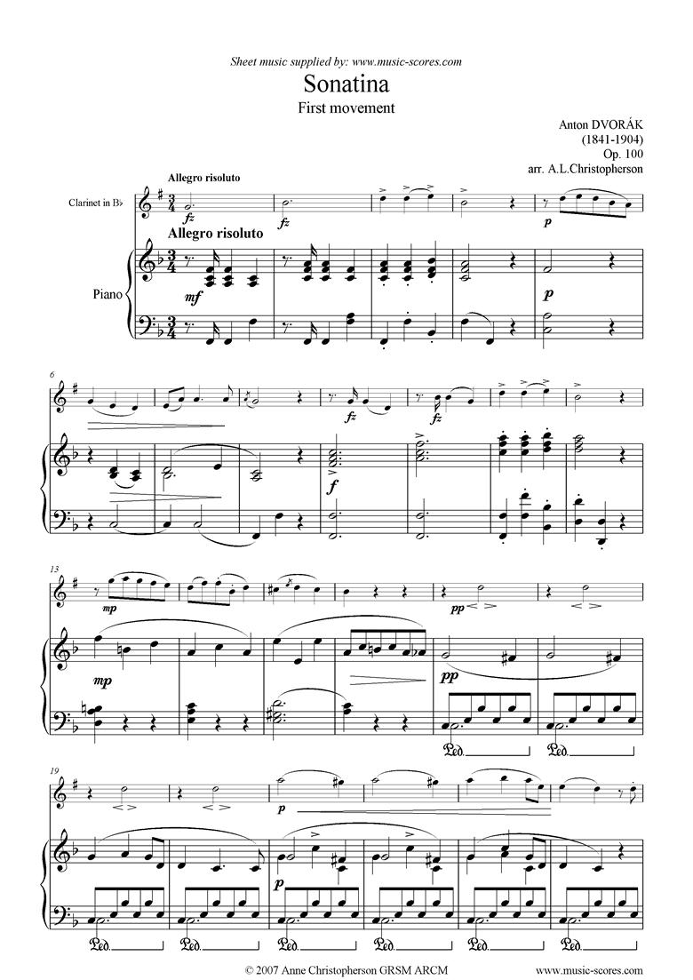 Op.100: Sonatina 1st Mvt: Allegro: Clarinet by Dvorak