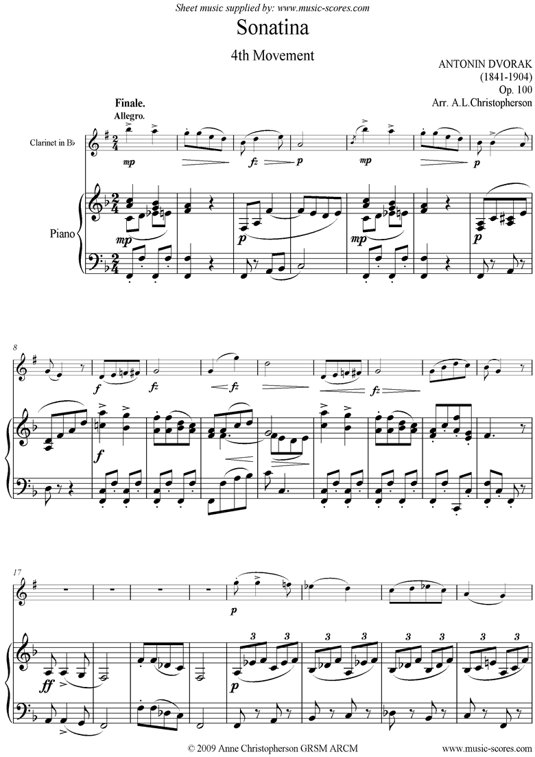 Front page of Op.100: Sonatina 4th Mvt: Finale: Clarinet sheet music