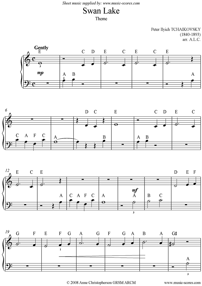 Front page of Theme from Swan Lake: Op. 20a - Easy sheet music