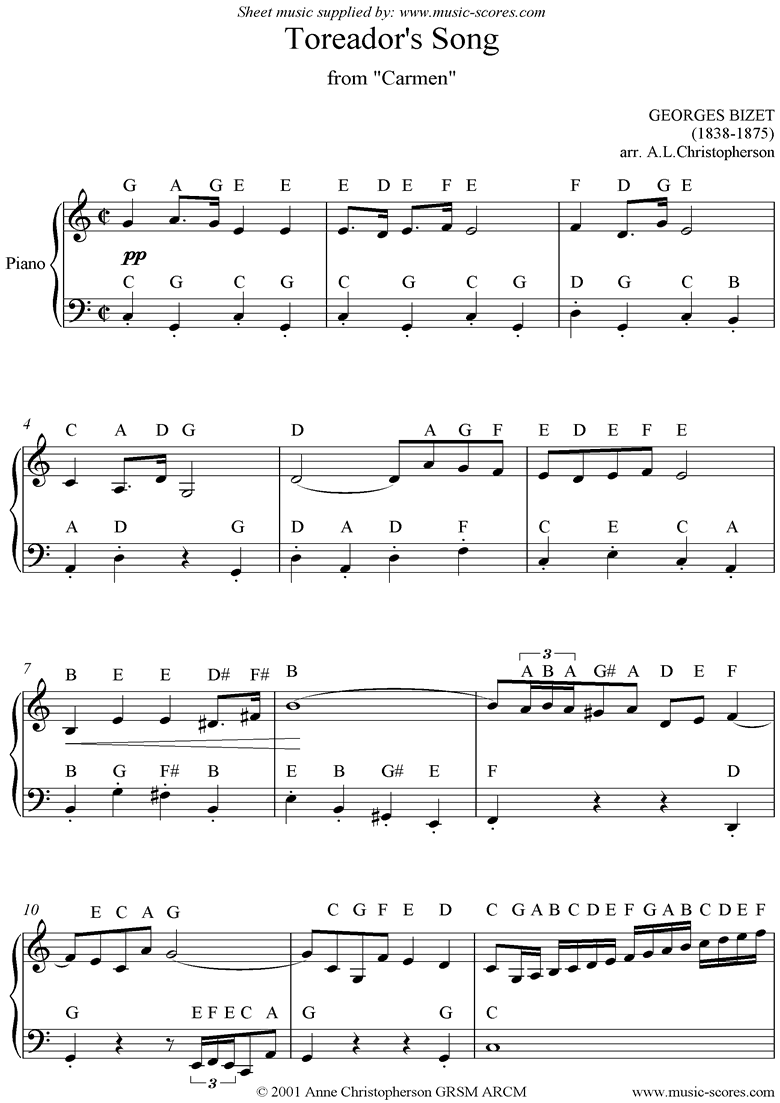 Front page of Toreadors Song: from Carmen: easy piano sheet music