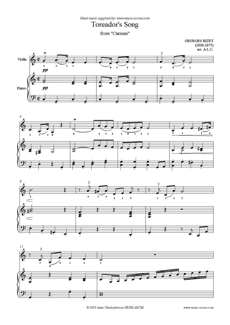Front page of Toreadors Song: from Carmen: Violin sheet music