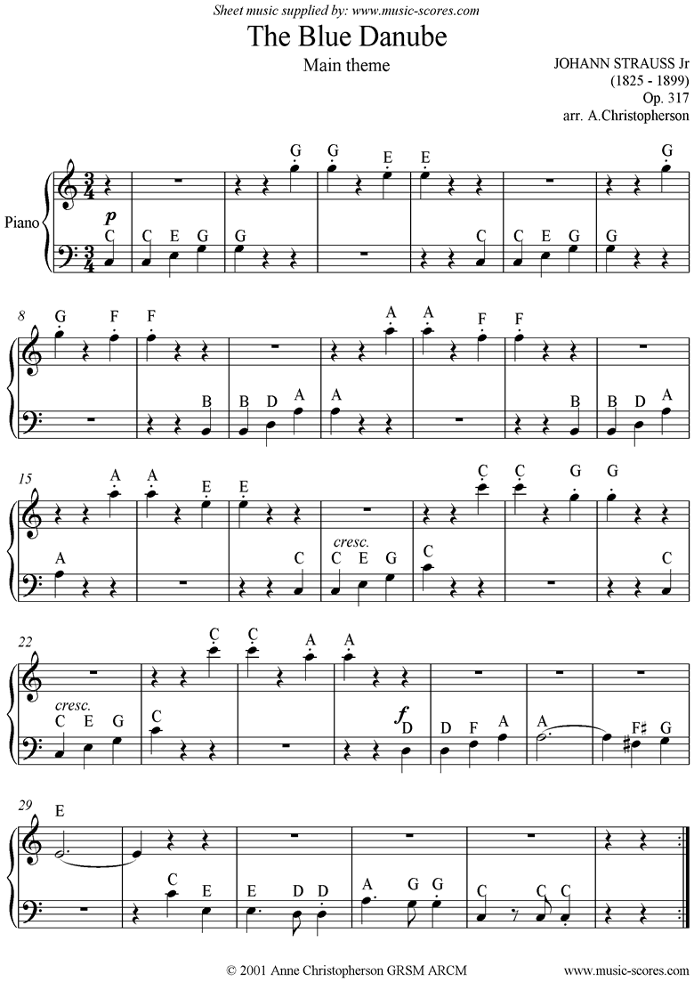 Front page of The Blue Danube: Easy piano sheet music
