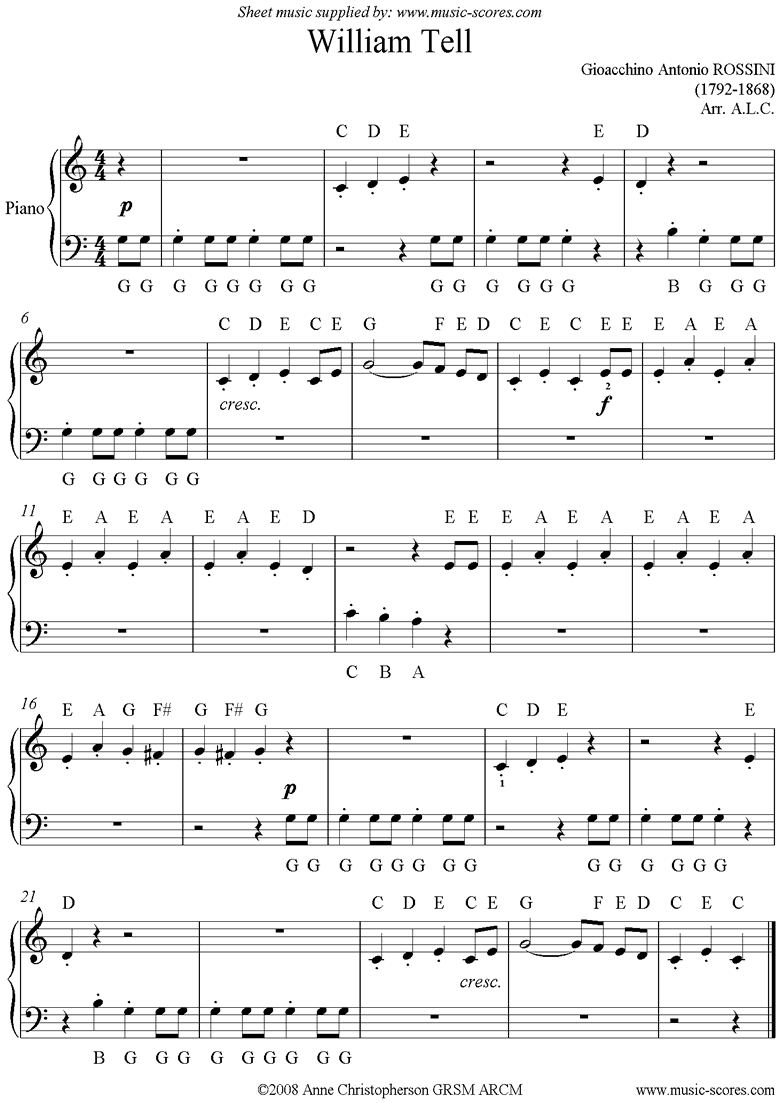 Front page of William Tell: Easy piano. sheet music