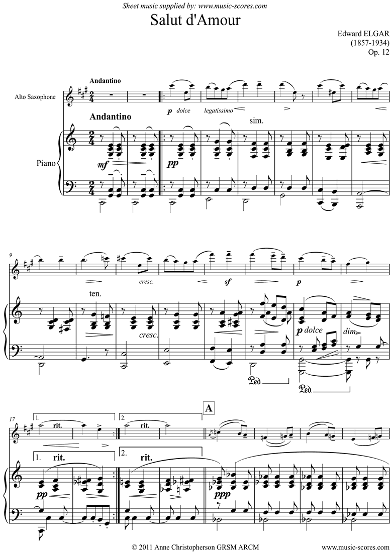 Salut dAmour: Alto Sax by Elgar